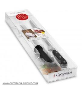 Cuchillo + chaira 3 CLAVELES 01700
