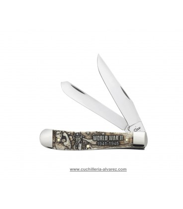 Navaja CASE TRAPPER War Series Embellished Smooth Natural Bone WWII CA22030