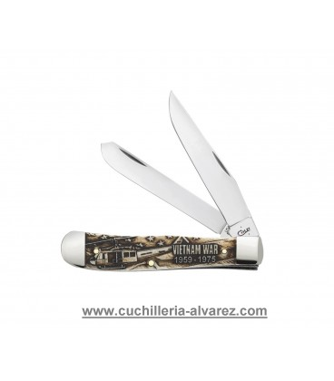 Navaja CASE TRAPPER War Series Embellished Smooth Natural Bone Vietnam CA22032