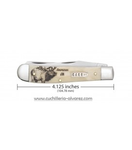 Navaja CASE TRAPPER Sportsman Series Embellished Smooth Natural Bone American Elk