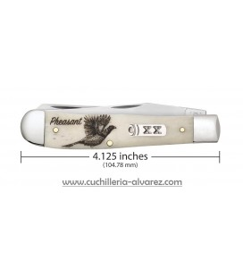 Navaja CASE TRAPPER Sportsman Series Embellished Smooth Natural Bone Pheasant