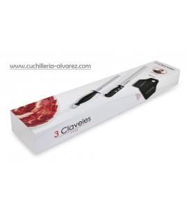 Cuchillo + chaira + cubrejamon 3 CLAVELES 00966